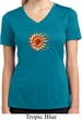 Ladies Yoga Shirt Ohm Sun Moisture Wicking V-neck Tee T-Shirt