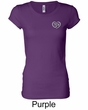 Ladies Yoga Shirt OM Heart Pocket Print Longer Length Tee T-Shirt