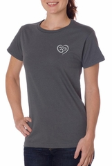 Ladies Yoga Shirt OM Heart Pocket Print Organic Tee T-Shirt