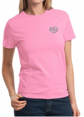 Ladies Yoga Shirt OM Heart Pocket Print Tee T-Shirt