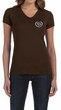 Ladies Yoga Shirt OM Heart Pocket Print V-neck Tee T-Shirt