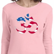 Ladies Yoga Shirt Patriotic Om Long Sleeve Tee T-Shirt