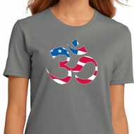 Ladies Yoga Shirt Patriotic Om Organic Tee T-Shirt