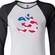 Ladies Yoga Shirt Patriotic Om Raglan Tee T-Shirt