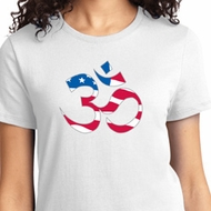 Ladies Yoga Shirt Patriotic Om Tee T-Shirt
