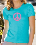 Ladies Yoga Shirt Pink Peace Symbol Scoop Neck Shirt