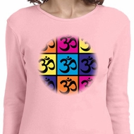 Ladies Yoga Shirt Pop Art Om Long Sleeve Tee