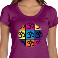 Ladies Yoga Shirt Pop Art Om Scoop Neck Tee T-Shirt