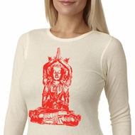 Ladies Yoga Shirt Red Tara Long Sleeve Thermal Tee T-Shirt