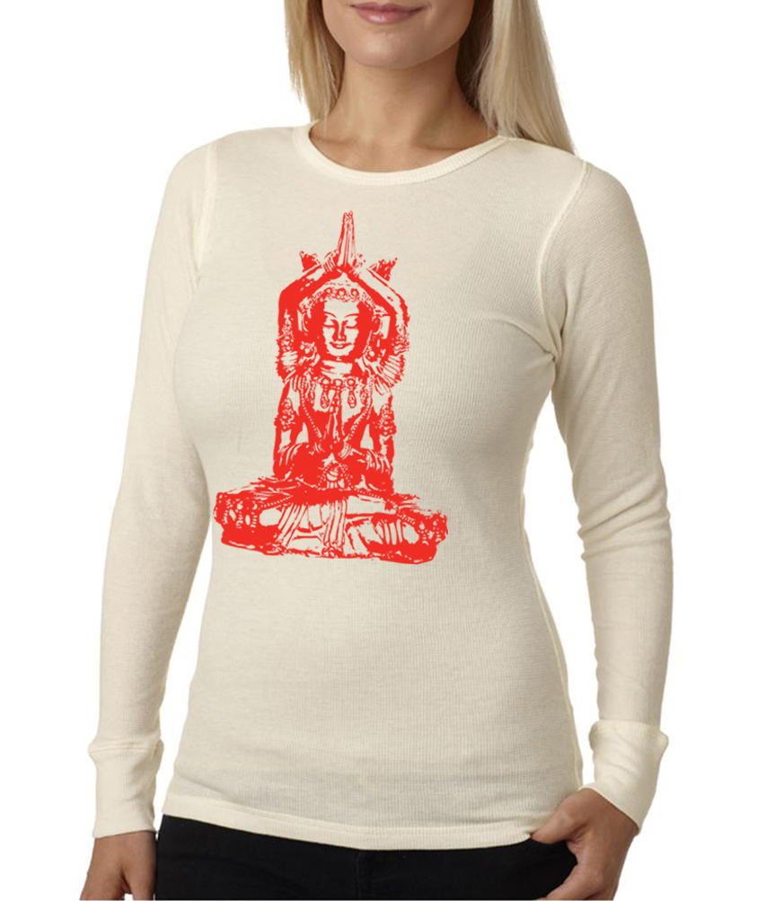 Ladies yoga shirt red tara long sleeve thermal tee t shirt Yoga shirts with sleeves