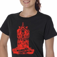 Ladies Yoga Shirt Red Tara Organic Tee T-Shirt