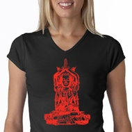 Ladies Yoga Shirt Red Tara V-neck Tee T-Shirt