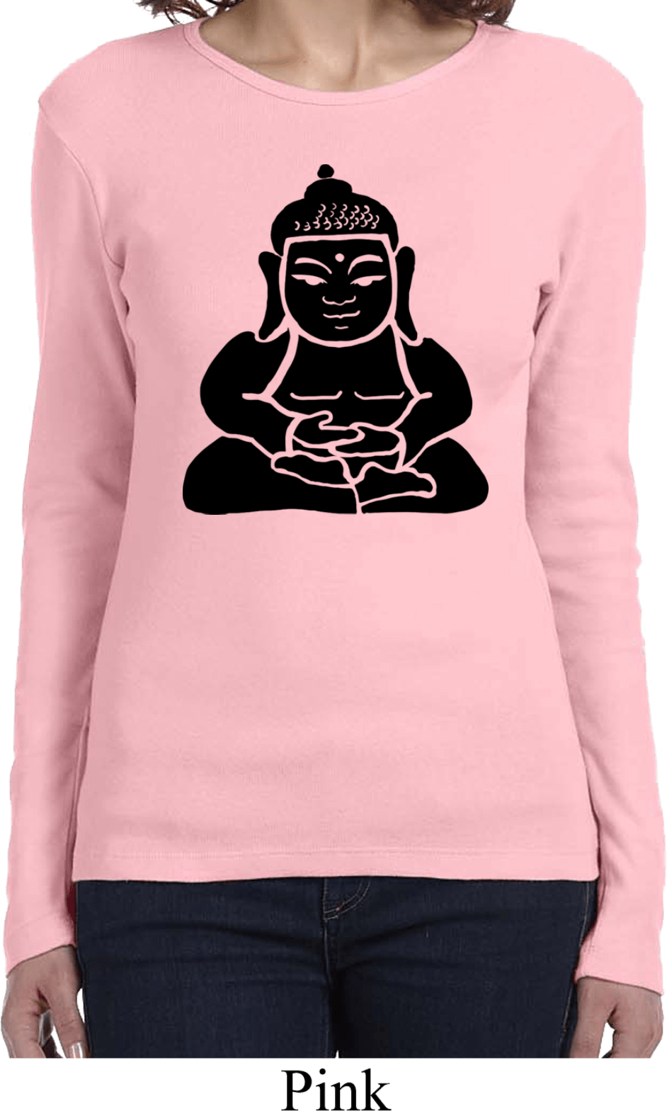 Ladies yoga shirt shadow buddha long sleeve tee t shirt Yoga shirts with sleeves