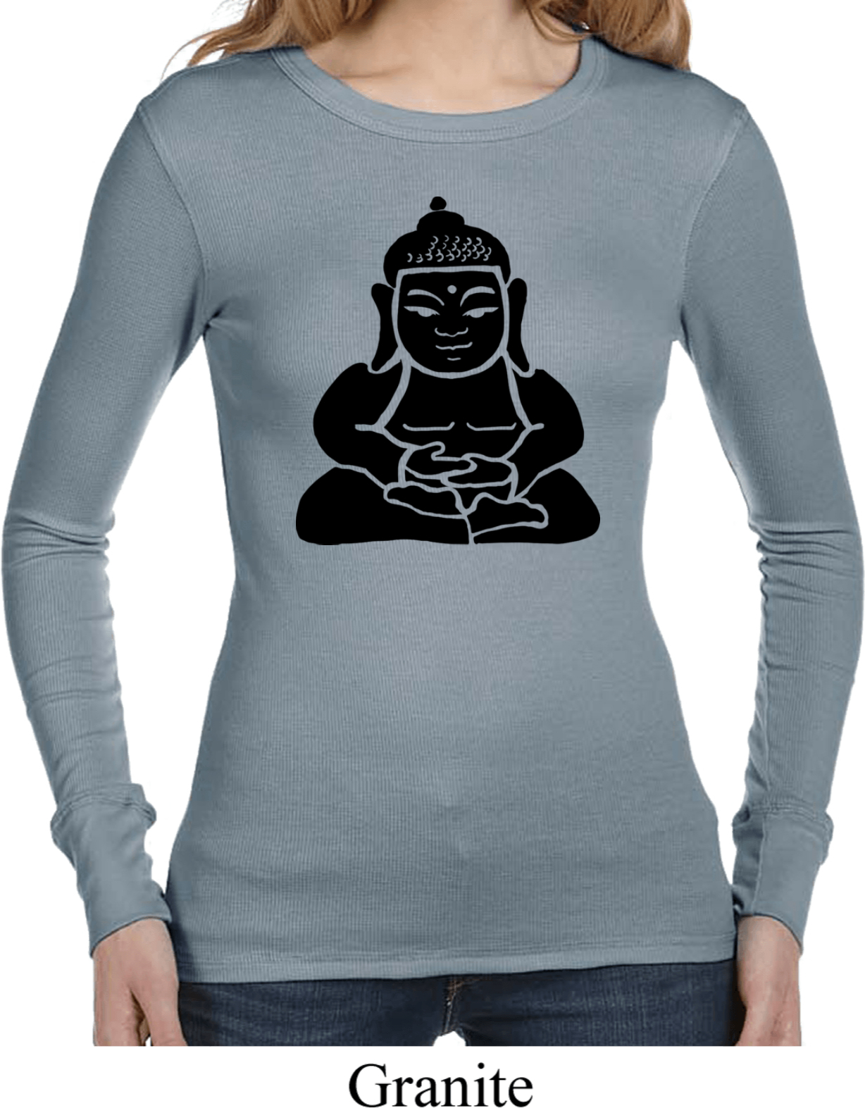 Ladies yoga shirt shadow buddha long sleeve thermal tee t Thermal t shirt long sleeve
