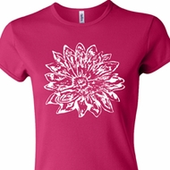 Ladies Yoga Shirt Sketch Lotus Crewneck Tee T-Shirt