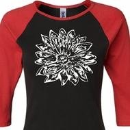 Ladies Yoga Shirt Sketch Lotus Raglan Tee T-Shirt