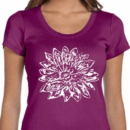 Ladies Yoga Shirt Sketch Lotus Scoop Neck Tee T-Shirt