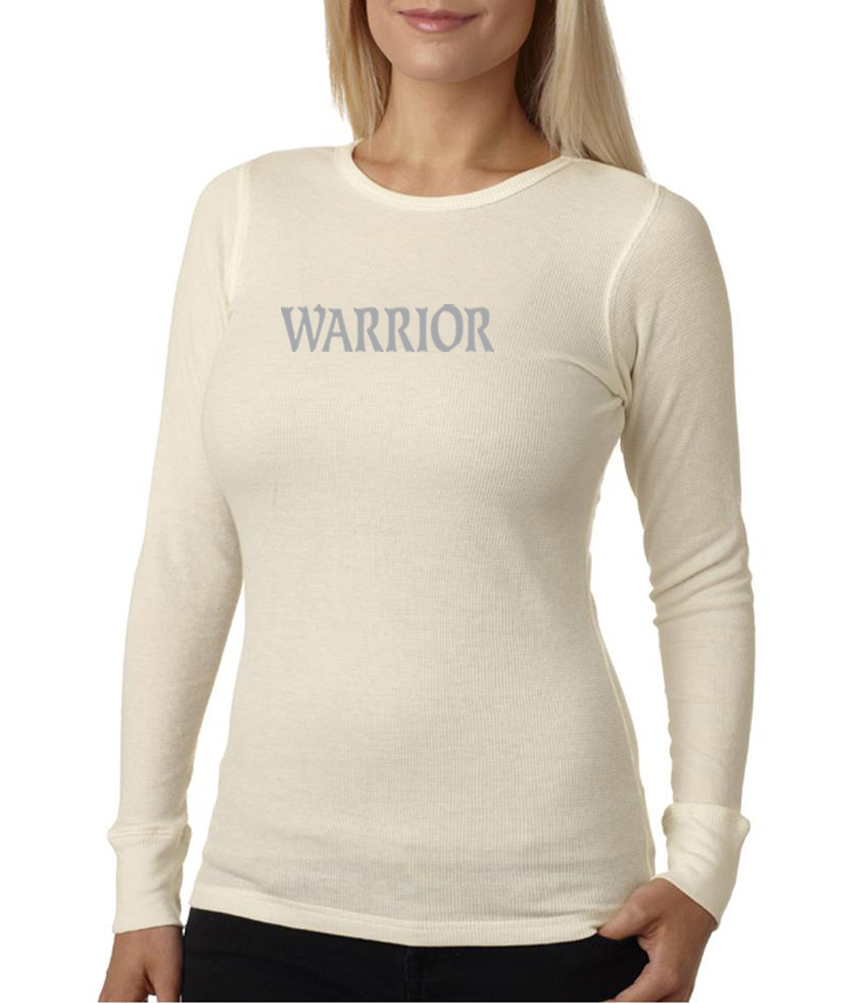 Ladies yoga shirt warrior text long sleeve thermal tee t for Misses long sleeve tee shirts