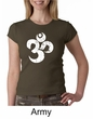 Ladies Yoga Shirt White Distressed OM Crewneck Tee T-Shirt