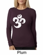 Ladies Yoga Shirt White Distressed OM Long Sleeve Thermal Tee T-Shirt