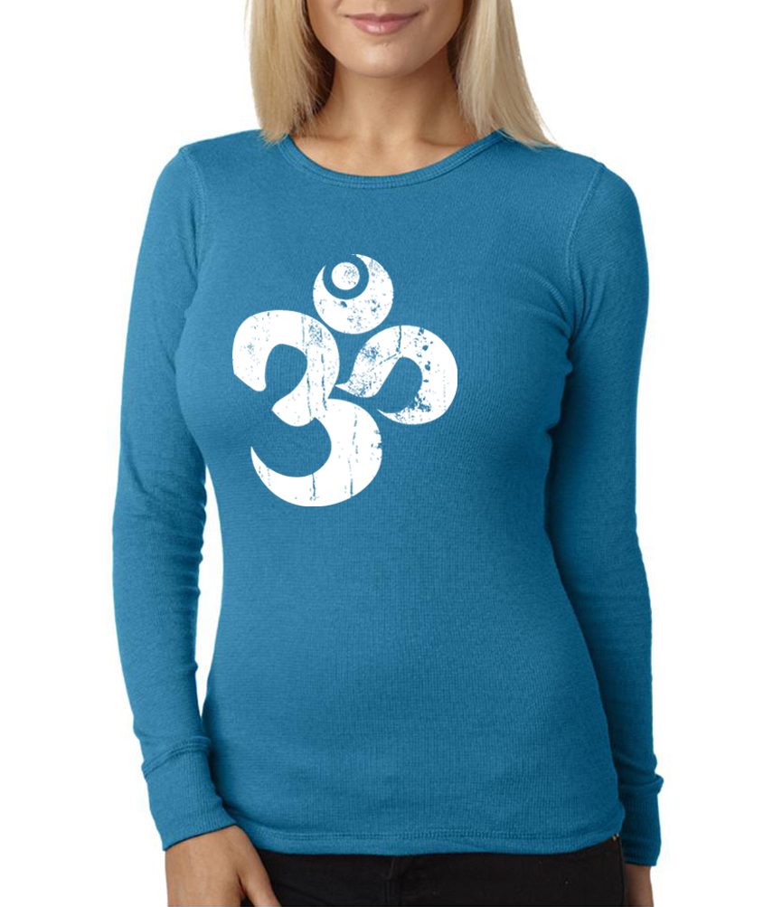 Ladies yoga shirt white distressed om long sleeve thermal for White thermal t shirt