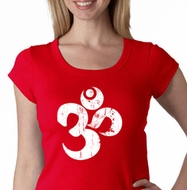 Ladies Yoga Shirt White Distressed OM Scoop Neck Tee T-Shirt