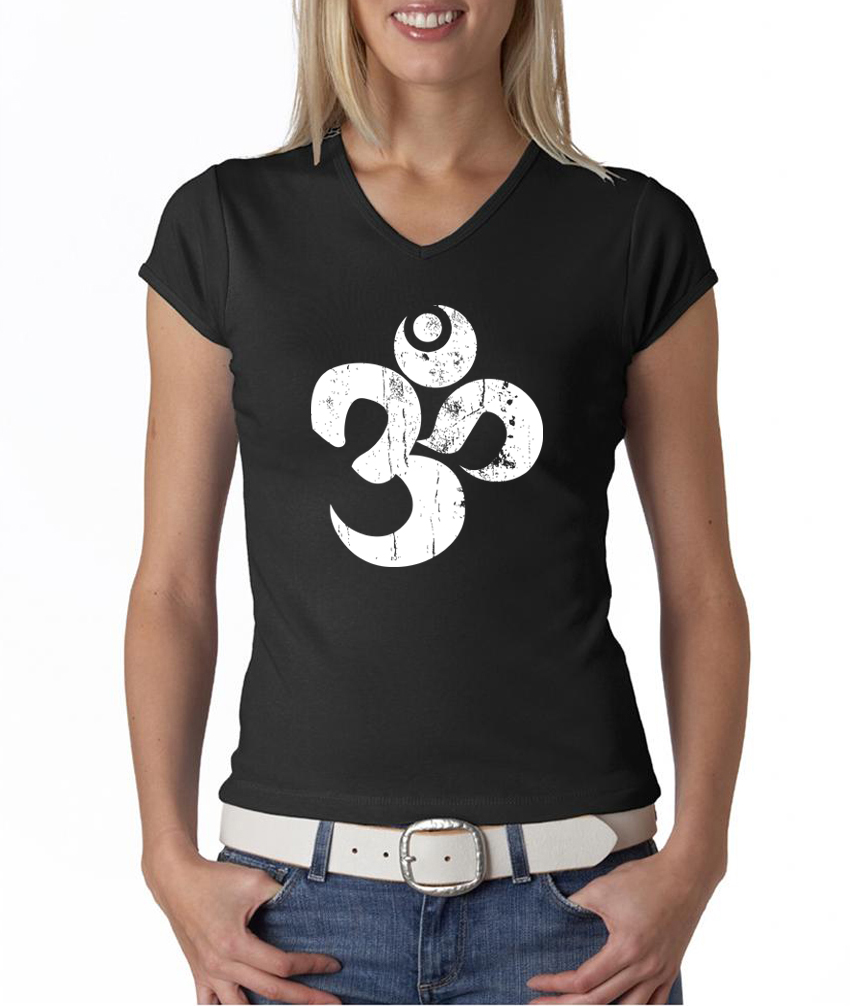 Ladies yoga shirt white distressed om v neck tee t shirt for How to make a distressed shirt
