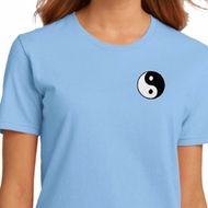 Ladies Yoga Shirt Yin Yang Patch Pocket Print Organic Tee T-Shirt