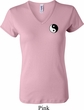 Ladies Yoga Shirt Yin Yang Patch Pocket Print V-neck Tee T-Shirt