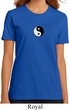 Ladies Yoga Shirt Yin Yang Patch Small Print Organic Tee T-Shirt