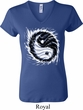 Ladies Yoga Shirt Yin Yang Sun V-neck Tee T-Shirt