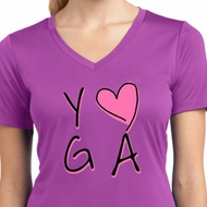 Ladies Yoga Shirt Yoga Love Moisture Wicking V-neck Tee T-Shirt
