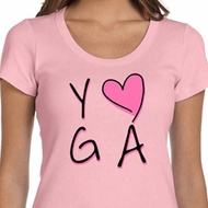 Ladies Yoga Shirt Yoga Love Scoop Neck Tee T-Shirt