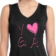 Ladies Yoga Shirt Yoga Love Sleeveless Moisture Wicking Tee T-Shirt