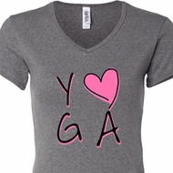 Ladies Yoga Shirt Yoga Love V-neck Tee T-Shirt