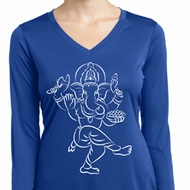 Ladies Yoga Sketch Ganesha White Print Dry Wicking Long Sleeve