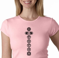 Ladies Yoga T-shirt 7 Chakras Black Print Crew Neck Shirt
