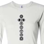 Ladies Yoga T-shirt 7 Chakras Black Print Long Sleeve Shirt