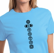 Ladies Yoga T-shirt 7 Chakras Black Print Tee