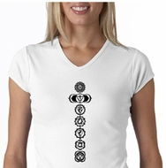 Ladies Yoga T-shirt 7 Chakras Black Print V-Neck Shirt