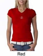 Ladies Yoga T-shirt � Aum Hindu Patch Meditation V-neck Shirt
