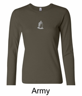 Ladies Yoga T-shirt � Buddha Small Print Long Sleeve Shirt