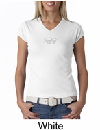 Ladies Yoga T-shirt � Namaste Small Print V-neck Shirt