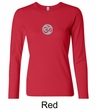 Ladies Yoga T-shirt – Om Symbol Small Print Long Sleeve Shirt