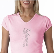 Ladies Yoga T-shirt Tadasana Mountain Pose V-Neck Shirt