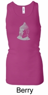 Ladies Yoga Tank � Buddha Big Print Longer Length Racerback Tanktop