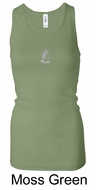 Ladies Yoga Tank � Buddha Small Print Longer Length Racerback Tanktop