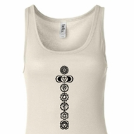 Ladies Yoga Tank Top 7 Chakras Black Print Longer Length Tanktop