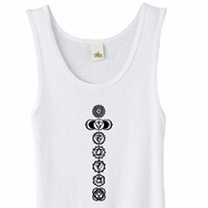 Ladies Yoga Tank Top 7 Chakras Black Print Organic Tanktop - White