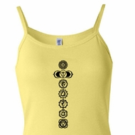 Ladies Yoga Tank Top 7 Chakras Black Print Spaghetti Tanktop